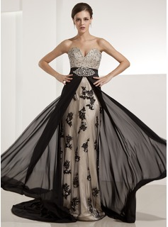 A-Line/Princess Sweetheart Chapel Train Chiffon Charmeuse Evening Dress With Beading Appliques Lace Sequins