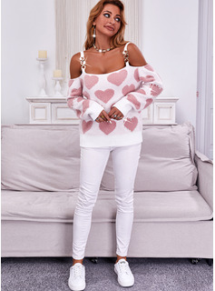 Cold Shoulder Long Sleeves Regular Print Heart Casual Pullovers