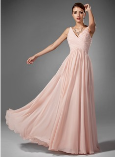 champagne chiffon long prom dress