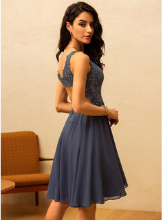 blue satin tea length dress
