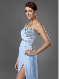 A-Line/Princess One-Shoulder Floor-Length Chiffon Prom Dresses With Ruffle Beading Sequins Split Front