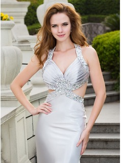 Trumpet/Mermaid V-neck Sweep Train Charmeuse Prom Dresses With Beading