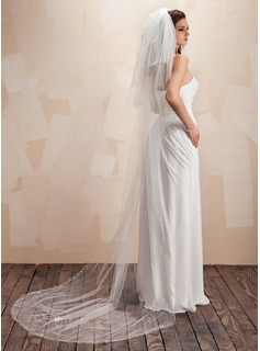 Four-tier Chapel Bridal Veils With Cut Edge