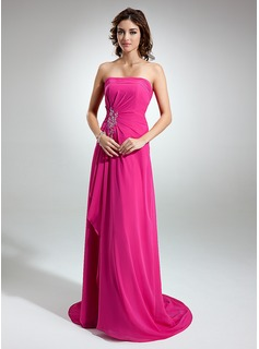 A-Line/Princess Strapless Sweep Train Chiffon Bridesmaid Dress With Beading Appliques Lace Cascading Ruffles