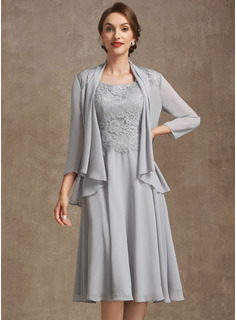 A-Line Square Neckline Knee-Length Chiffon Lace Mother of the Bride Dress