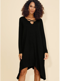 Viscose With Solid Asymmetrical Dress