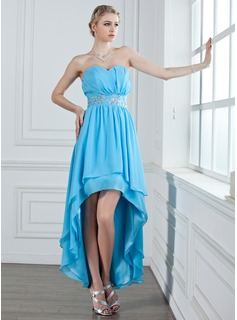 A-Line/Princess Sweetheart Asymmetrical Chiffon Holiday Dress With Ruffle Beading