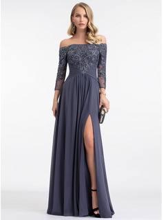 Off-the-Shoulder Floor-Length Chiffon Evening Dress
