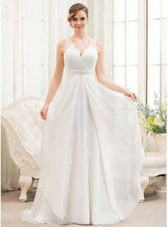 A-Line/Princess V-neck Sweep Train Chiffon Wedding Dress With Beading Sequins Cascading Ruffles