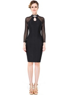 Sheath/Column Scoop Neck Knee-Length Jersey Cocktail Dress With Beading