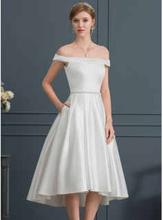 Ball-Gown/Princess Off-the-Shoulder Asymmetrical Satin Wedding Dress With Beading Pockets