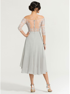 Off-the-Shoulder Asymmetrical Chiffon Cocktail Dress With Beading