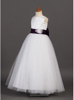 A-Line/Princess Floor-length Flower Girl Dress - Satin/Tulle Sleeveless Scoop Neck With Sash/Flower(s)/Bow(s)