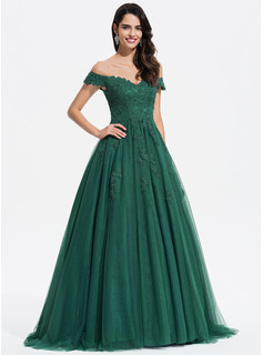 Ball-Gown/Princess V-neck Sweep Train Tulle Prom Dresses With Lace