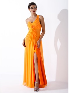 A-Line/Princess One-Shoulder Floor-Length Chiffon Holiday Dress With Ruffle Flower(s) Split Front