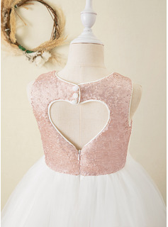 Ball-Gown/Princess Ankle-length Flower Girl Dress - Tulle/Sequined Sleeveless Scoop Neck With Back Hole