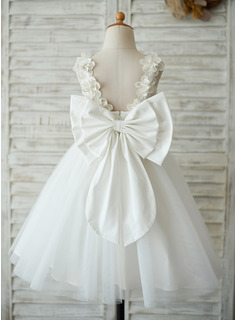A-Line Knee-length Flower Girl Dress - Satin/Tulle/Lace Sleeveless Scoop Neck With Flower(s)/V Back