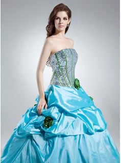 Ball-Gown Strapless Floor-Length Taffeta Sequined Quinceanera Dress With Ruffle Flower(s)