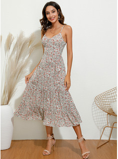 Floral Print A-line Spaghetti Straps Sleeveless Midi Casual Vacation Skater Type Dresses