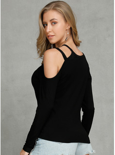 Long Sleeves Cotton Cold Shoulder Knit Blouses