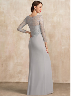 Sheath/Column Scoop Neck Floor-Length Chiffon Lace Mother of the Bride Dress