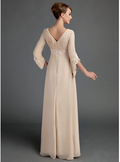 Empire V-neck Floor-Length Chiffon Mother of the Bride Dress With Ruffle Lace Beading