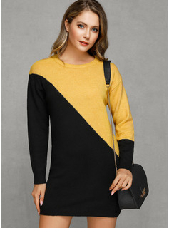 Color Block Chunky knit Polyester Round Neck Pullovers Sweater Dresses Sweaters