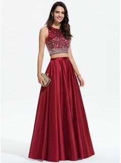 Scoop Neck Floor-Length Satin Prom Dresses With Beading Sequins