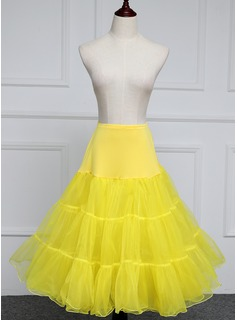 Women Polyester Knee-length 2 Tiers Petticoats