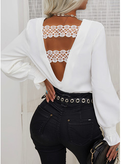 Regular Cotton Blends Round Neck Lace Solid Fitted Blouses