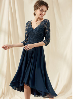 A-Line V-neck Asymmetrical Chiffon Lace Cocktail Dress With Sequins