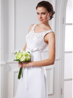 A-Line/Princess Scoop Neck Tea-Length Satin Organza Wedding Dress With Sash Beading Bow(s)