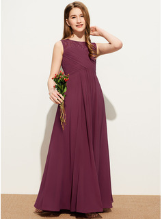 A-Line Scoop Neck Floor-Length Chiffon Lace Junior Bridesmaid Dress With Ruffle Bow(s)