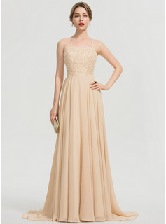 A-Line Square Neckline Sweep Train Chiffon Prom Dresses With Beading Sequins