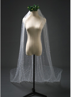 One-tier Cut Edge Chapel Bridal Veils With Faux Pearl