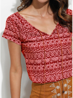 Short Sleeves Polyester Round Neck Blouses Blouses