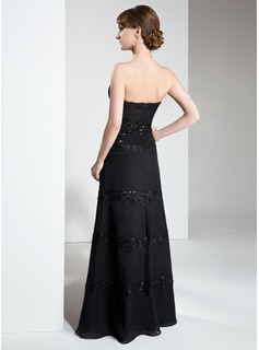 A-Line/Princess Strapless Floor-Length Chiffon Mother of the Bride Dress With Lace Beading Sequins
