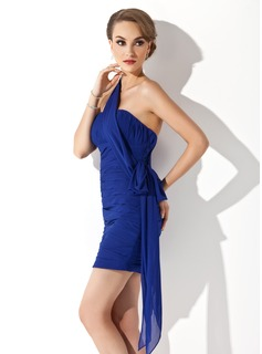 Sheath/Column One-Shoulder Short/Mini Chiffon Holiday Dress With Ruffle
