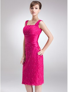 Sheath/Column Square Neckline Knee-Length Taffeta Lace Mother of the Bride Dress With Ruffle Beading