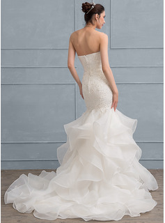 Trumpet/Mermaid Sweetheart Sweep Train Organza Lace Wedding Dress