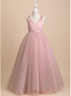 Ball-Gown/Princess Floor-length Flower Girl Dress - Tulle Sleeveless V-neck With Bow(s)/V Back