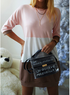 Color Block Shift Round Neck 1/2 Sleeves Midi Casual Sweatshirt Dresses