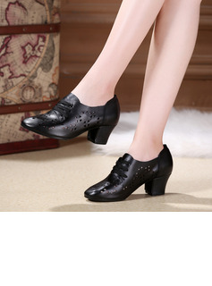 Women's Real Leather Heels Latin Modern Belly With Hollow-out Lace-up Dance Shoes