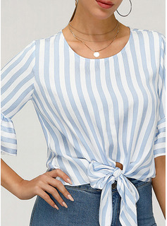 1/2 Sleeves Flare Sleeve Polyester Round Neck Blouses