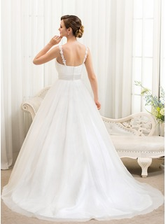 Ball-Gown V-neck Court Train Tulle Wedding Dress With Beading Appliques Lace Sequins