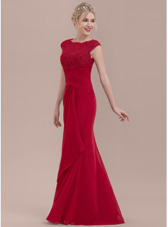 ee0d9c5b52 ... Sheath Column Scoop Neck Floor-Length Chiffon Lace Bridesmaid Dress  With Cascading Ruffles ...