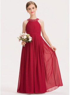Scoop Neck Floor-Length Chiffon Junior Bridesmaid Dress With Ruffle Beading Bow(s)