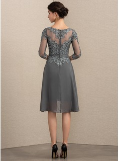 Scoop Neck Asymmetrical Chiffon Lace Mother of the Bride Dress
