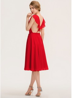 V-neck Knee-Length Chiffon Bridesmaid Dress With Bow(s) Cascading Ruffles