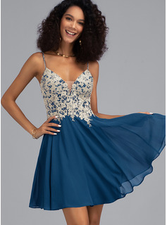 A-Line V-neck Short/Mini Chiffon Homecoming Dress With Beading